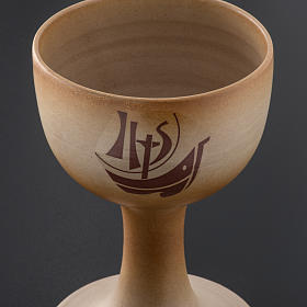 Chalice in ceramic, sand colour, Year of Faith, in stock s3