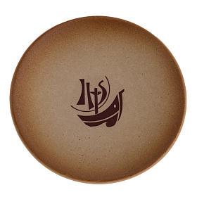 Platillo cubre cáliz de cerámica, color arena s1