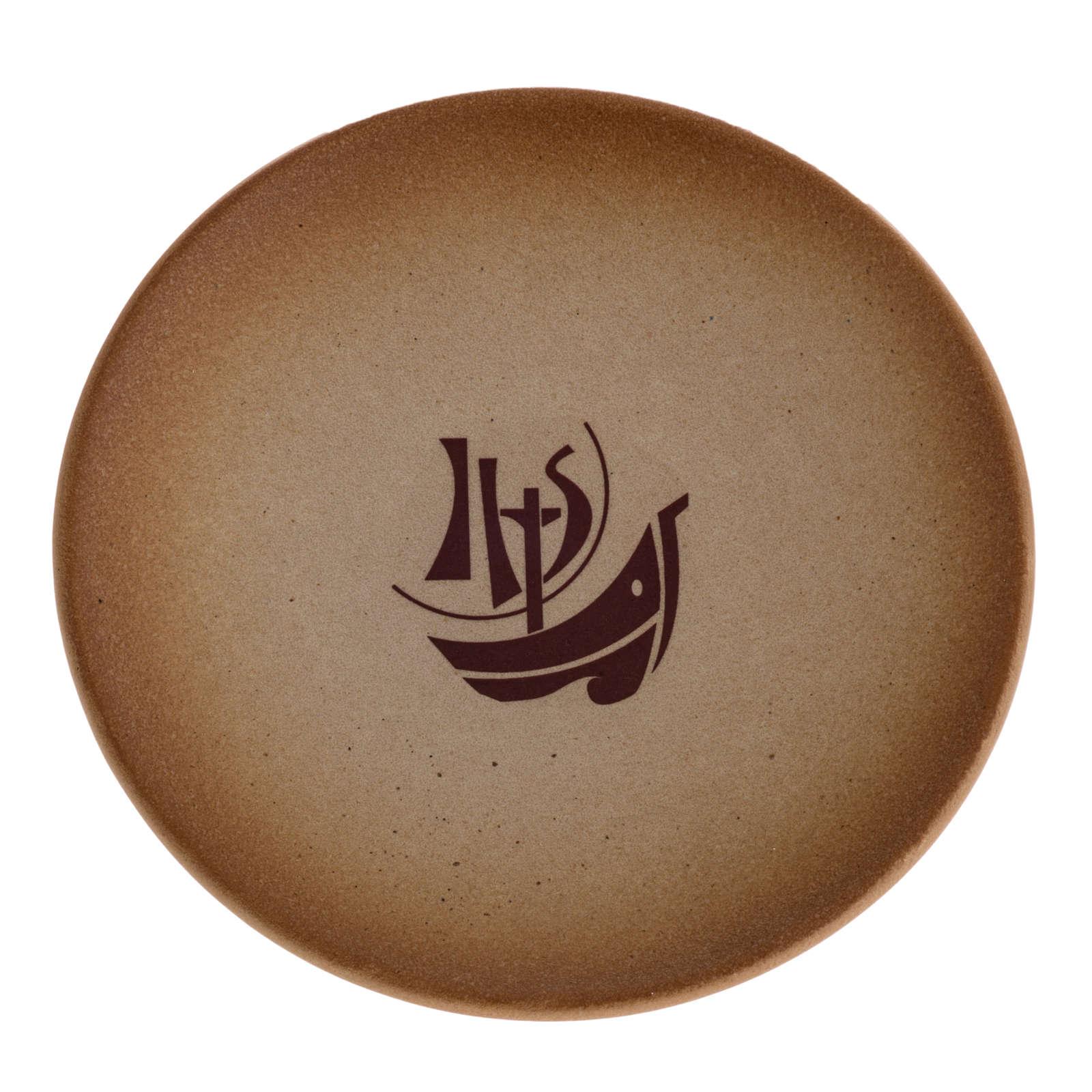 STOCK Piattino copri calice ceramica color sabbia Anno d. Fede 4