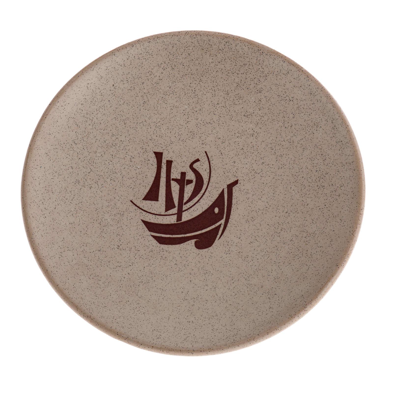 STOCK Piattino copri calice ceramica beige Anno Fede 4