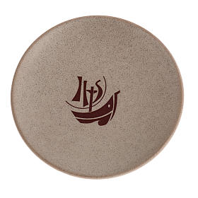 STOCK Piattino copri calice ceramica beige Anno Fede s1
