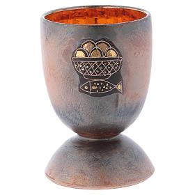 Kelch Fisch und Brot Keramik mit Gold s1