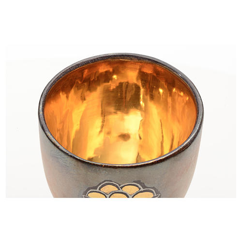 Cáliz cerámica base redonda panes y pez dorado int 3