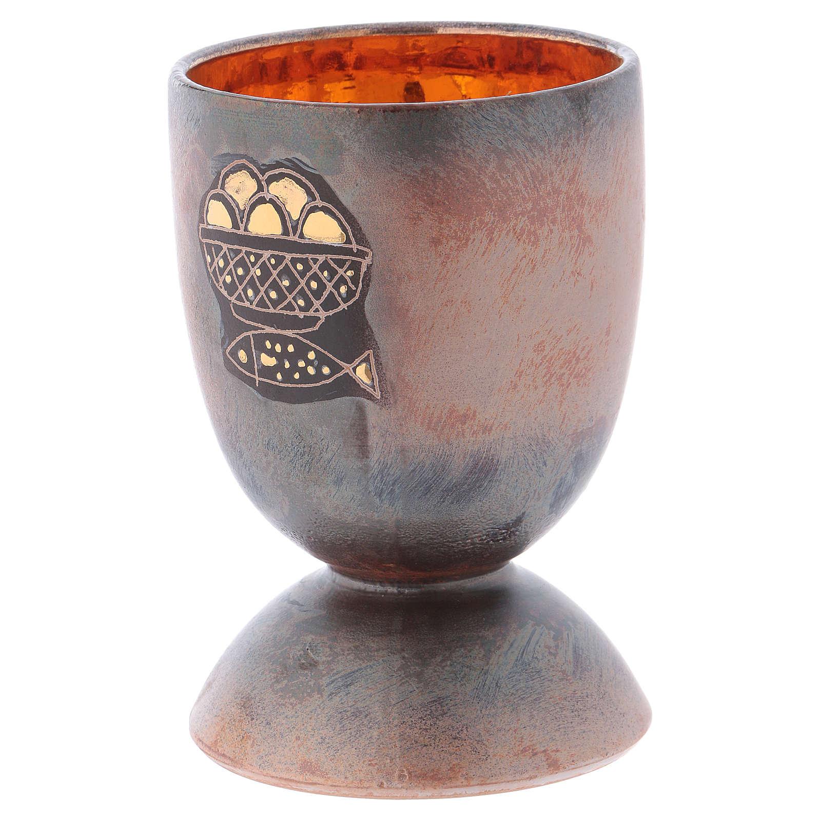 Calice ceramica piede tondo pani e pesci oro interno 4