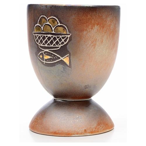 Calice ceramica piede tondo pani e pesci oro interno 2