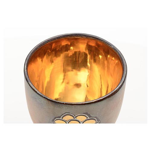 Calice ceramica piede tondo pani e pesci oro interno 3