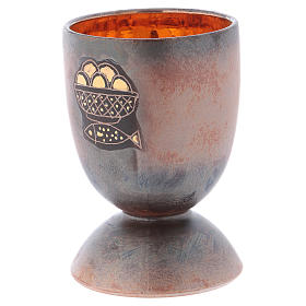Chalice in ceramic with round foot, fish and loaves, gold inside s2