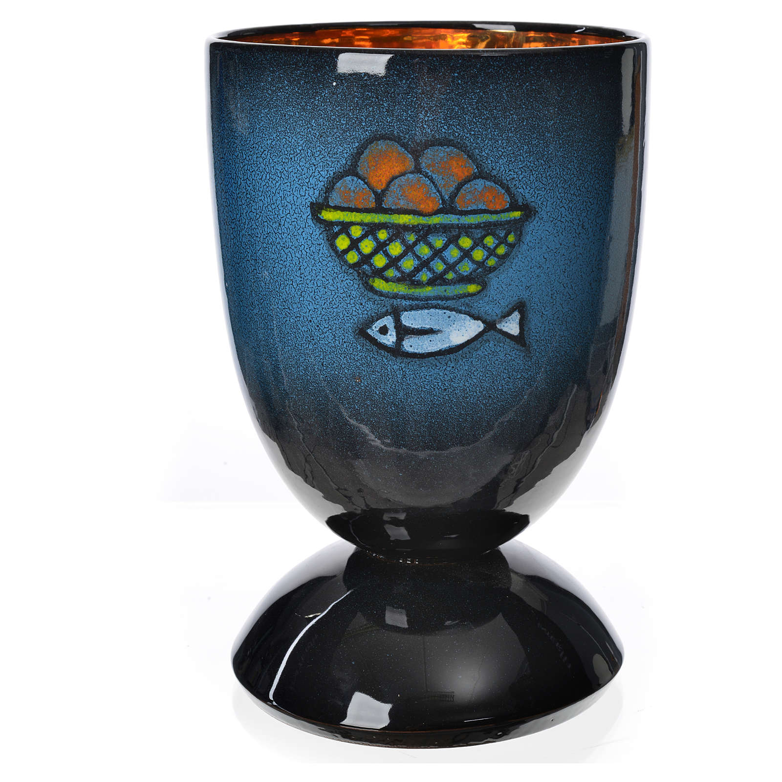 Calice per concelebrazione ceramica blu oro ceramico 4