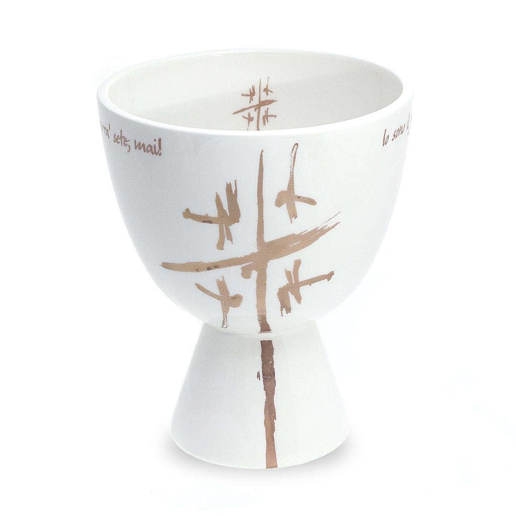 Kelch aus Keramik weiss 4