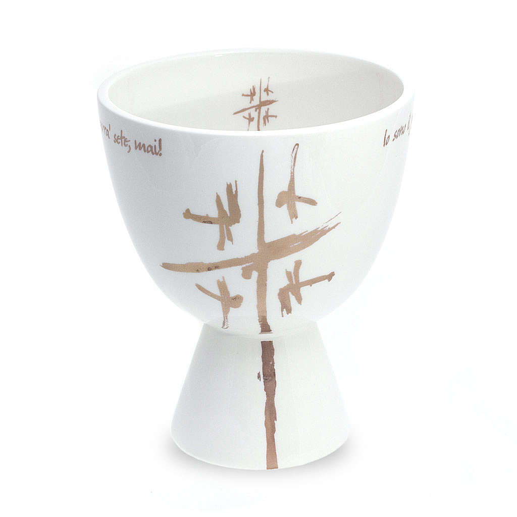 Chalice in white ceramic, cup 4