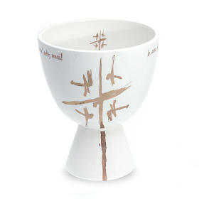 Chalice in white ceramic, cup s1