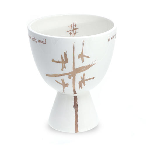 Chalice in white ceramic, cup 1
