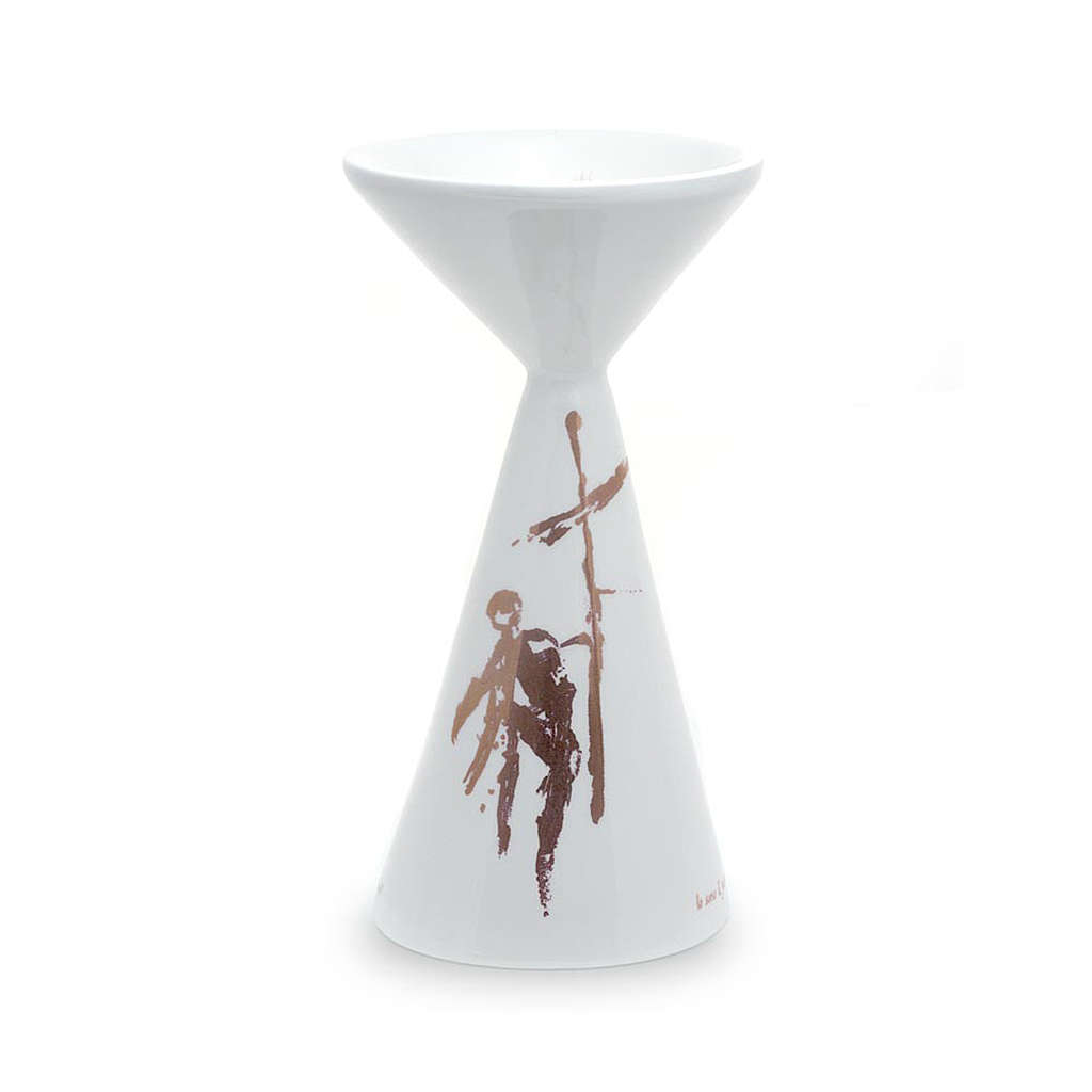 Kelch aus Keramik weiss mit Basis Linie Sbieco 4