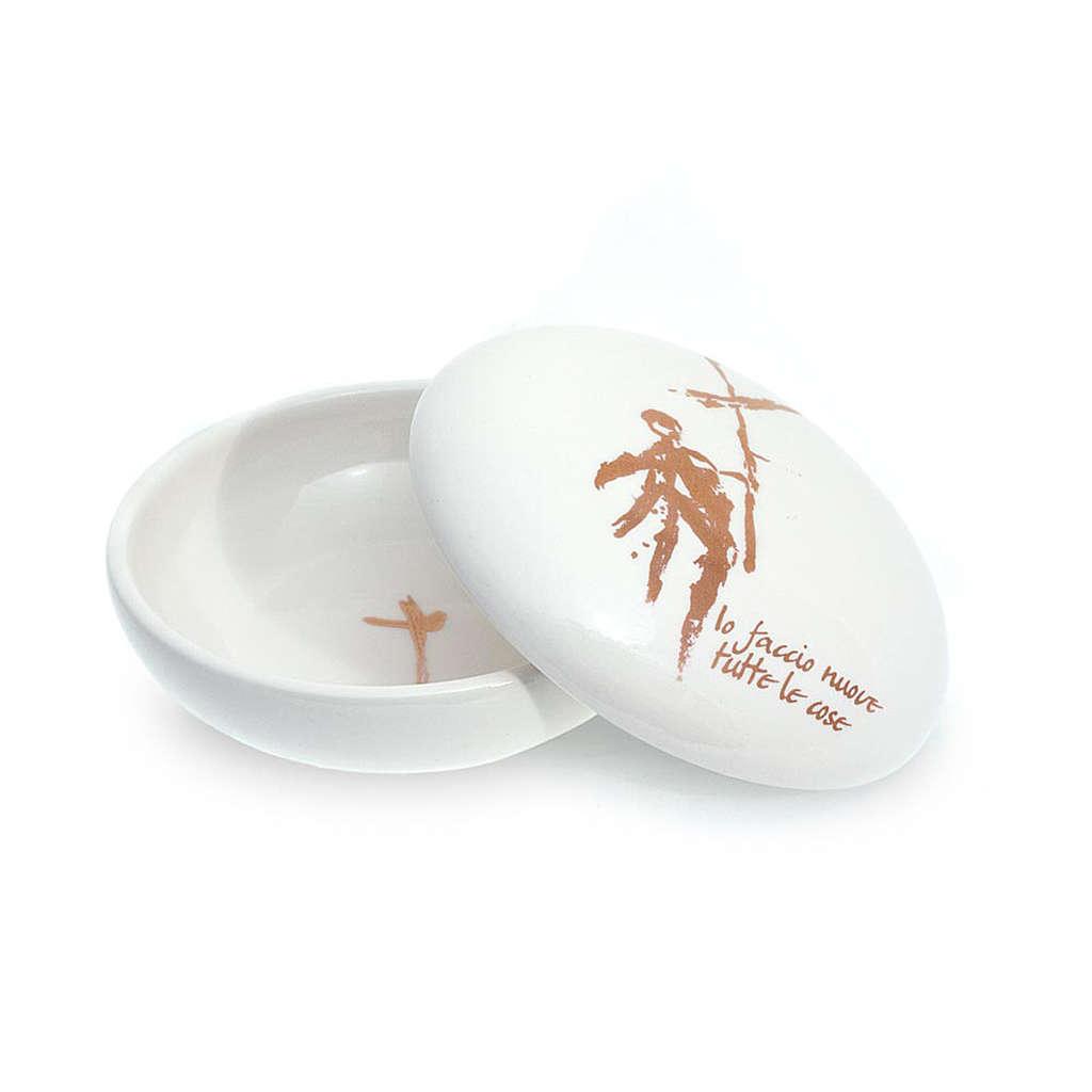 Patène céramique ronde blanche couvercle 4