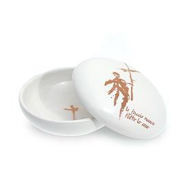 Patène céramique ronde blanche couvercle s1