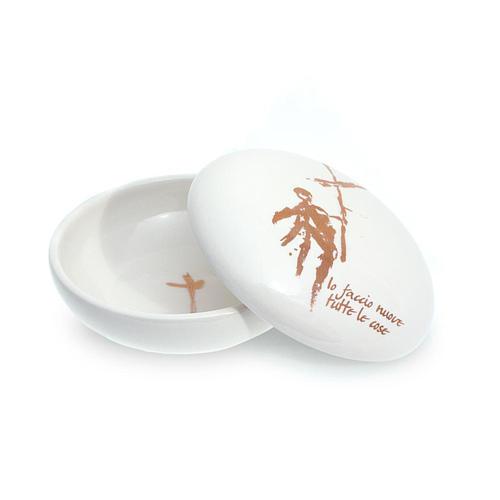 Patena ceramica Rotonda Bianca coperchio 1