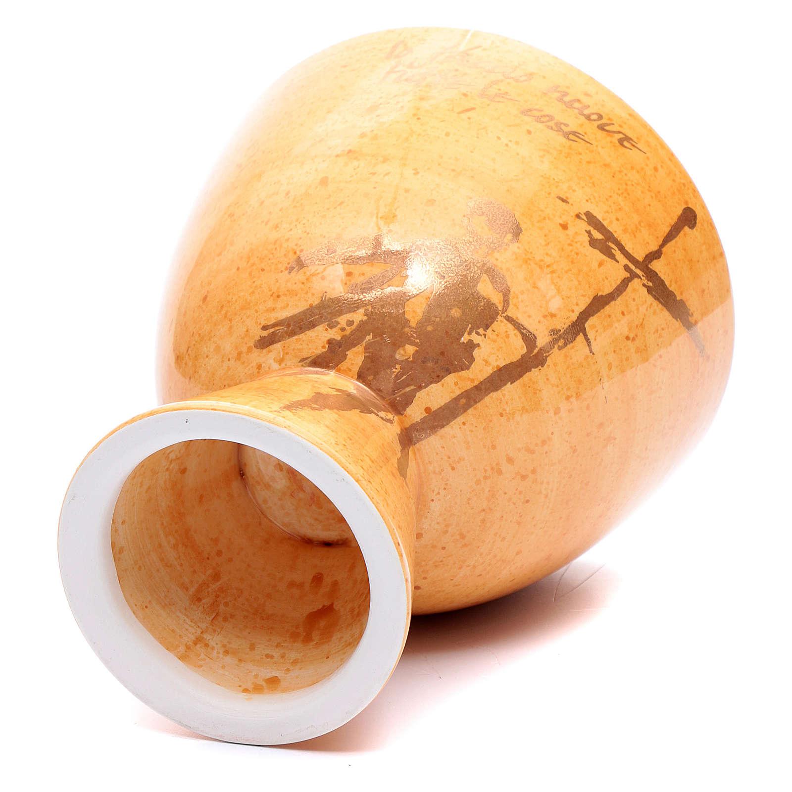 Kelch aus Keramik Senffarbe 4