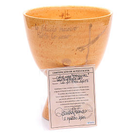 Kelch aus Keramik Senffarbe s7