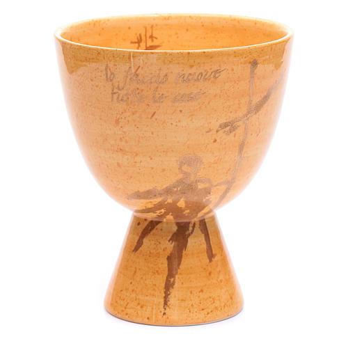 Cálice cerâmica taça cor mostarda 1