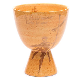 Chalice in beige ceramic, cup s1