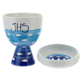 Kelch und Patene Keramik Fische Dekorationen s1
