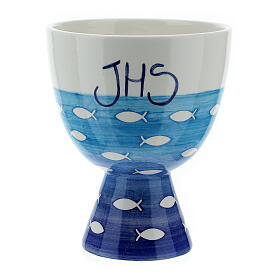 Ceramic chalice and paten, Fishes line s3