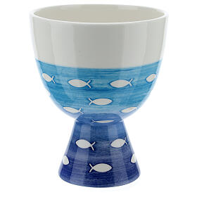 Ceramic chalice and paten, Fishes line s5
