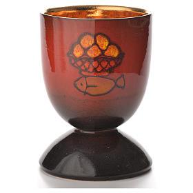Calice ceramica pani pesci rosso interno oro s1