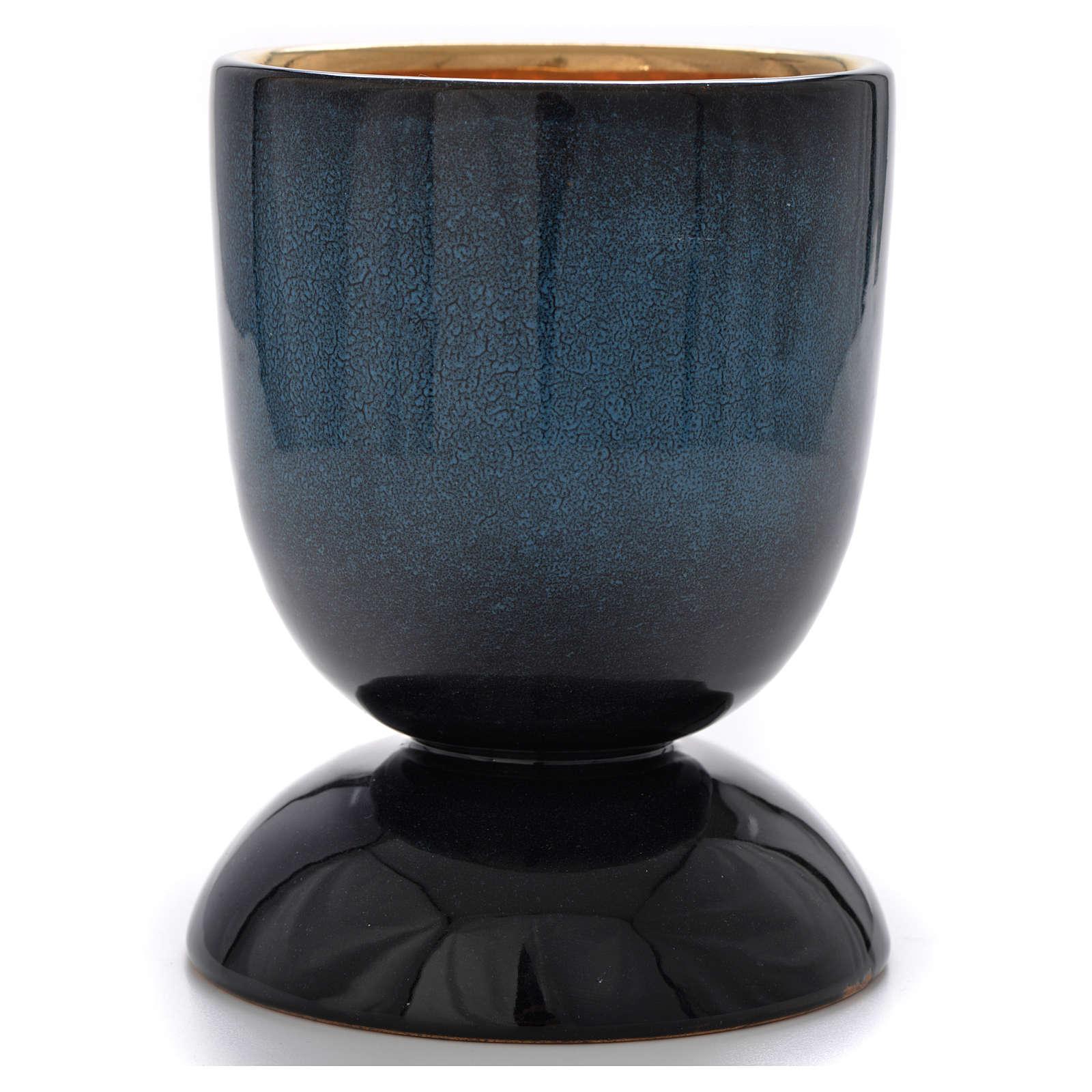 Calice ceramica blu pani pesci interno oro 4