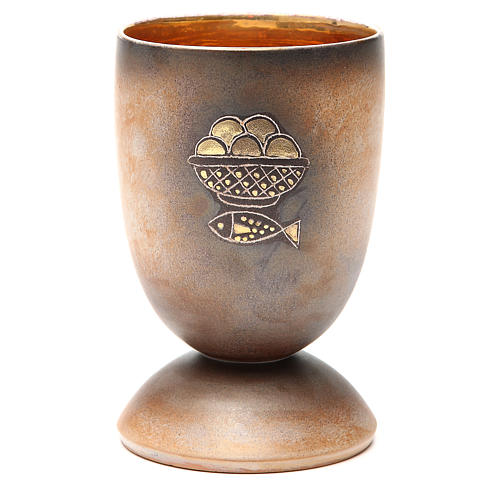 Chalice for concelebration sfish and loaves symbols, gold inside 1