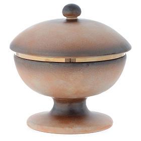 Ciboire céramique terre cuite ancienne or tau s3