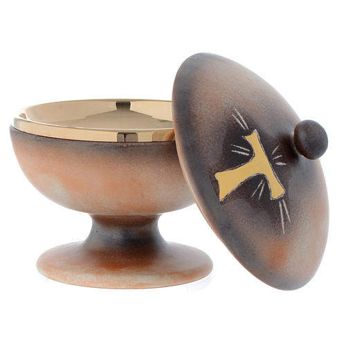 Ciboire céramique terre cuite ancienne or tau 2