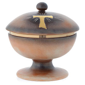 Tau ceramic ciborium with cup and lid s1