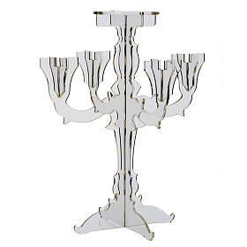 Candlestick in transparent plexiglass with 5 flames s4