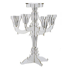 Candlestick in transparent plexiglass with 5 flames s1