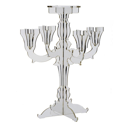 Candlestick in transparent plexiglass with 5 flames 4