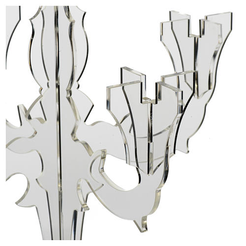 Candlestick in transparent plexiglass with 5 flames 5
