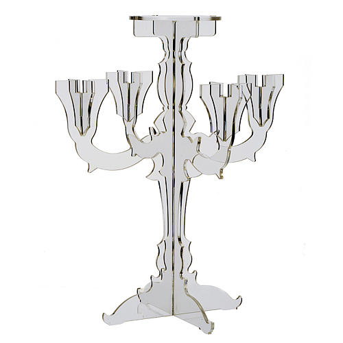 Candlestick in transparent plexiglass with 5 flames 1