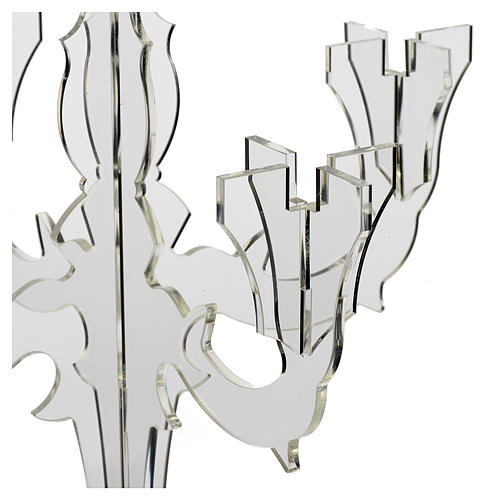 Candlestick in transparent plexiglass with 5 flames 2