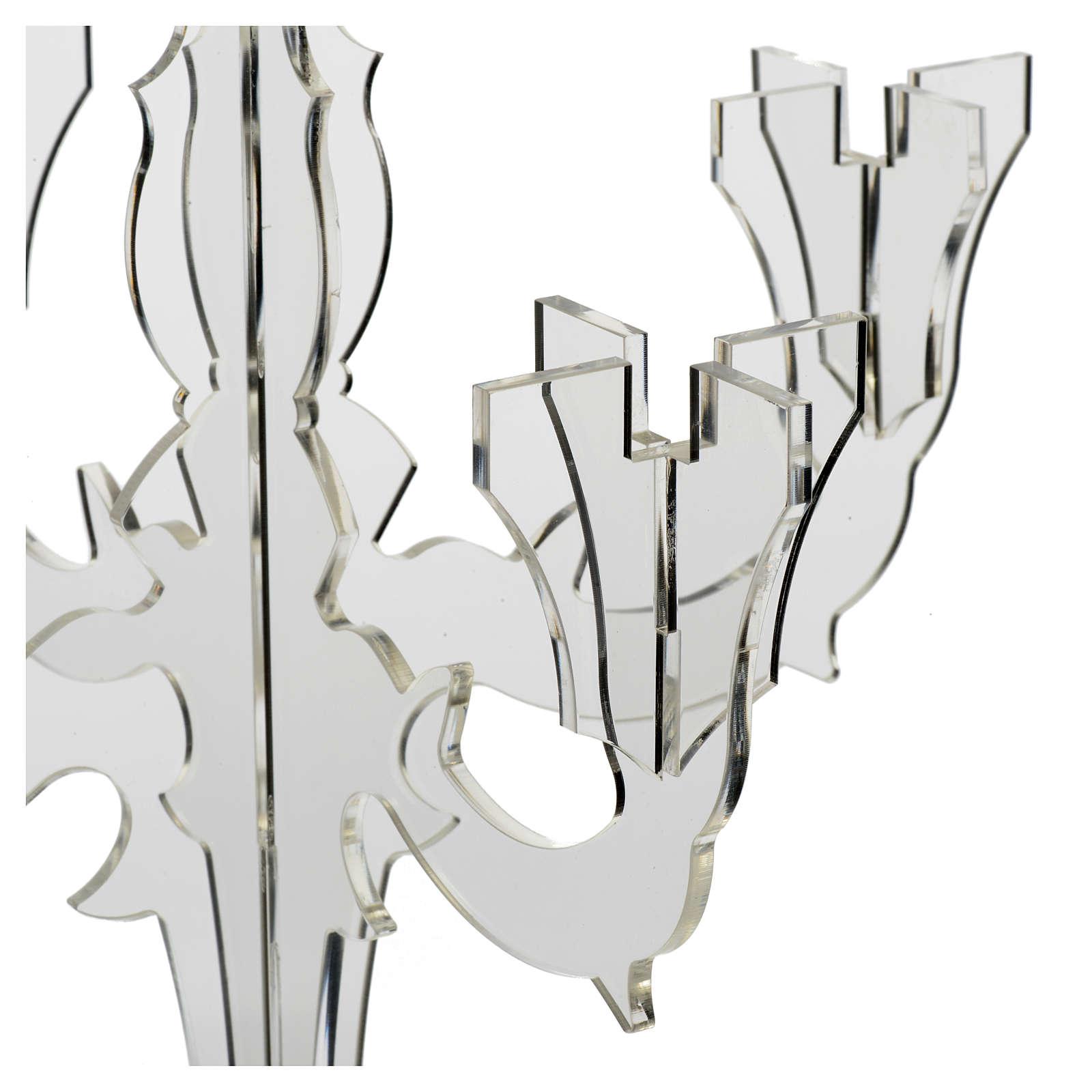 Candelabro in plexiglass 5 fiamme trasparente 4