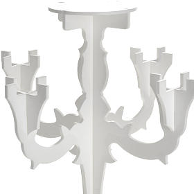 Candlestick in white plexiglass with 5 flames s4
