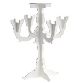Candlestick in white plexiglass with 5 flames s1