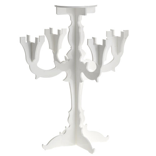 Candlestick in white plexiglass with 5 flames 1