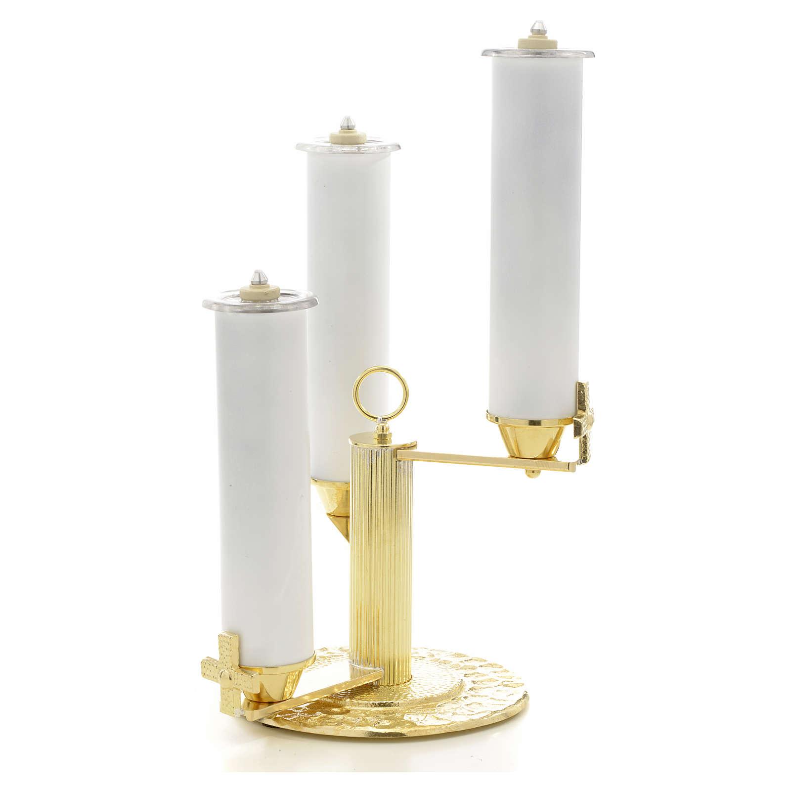 Candelabro 3 llamas bronce dorado 4