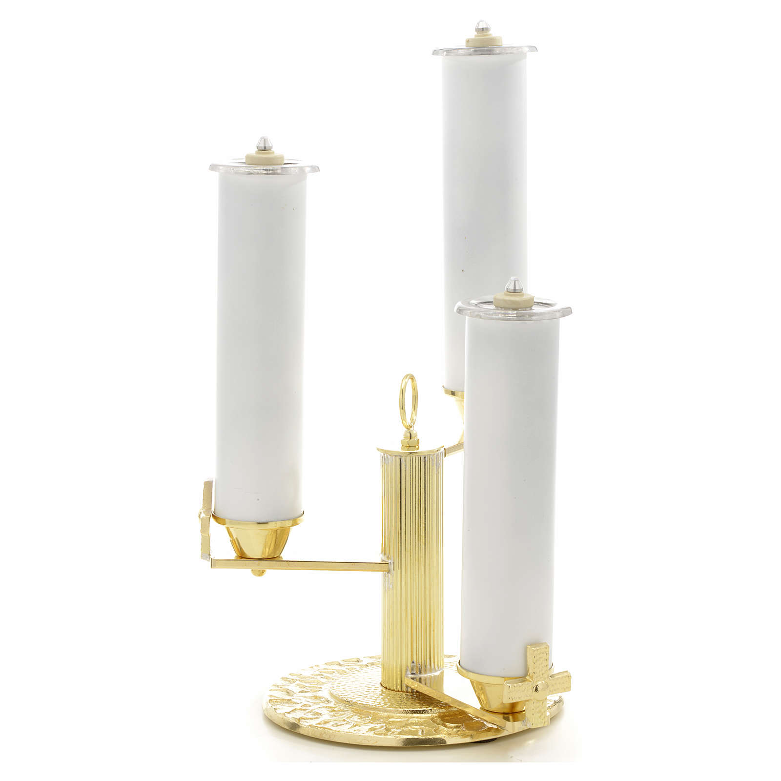 Candlestick with 3 flames in gold-plated bronze 4