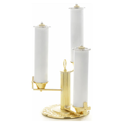 Candlestick with 3 flames in gold-plated bronze 1