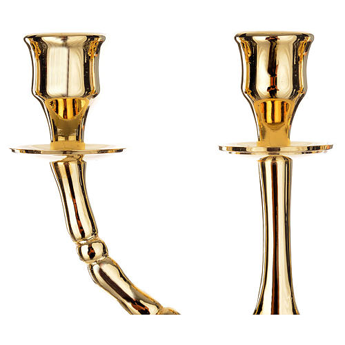 Candlestick Menorah in gold-plated brass with 7 flames 3