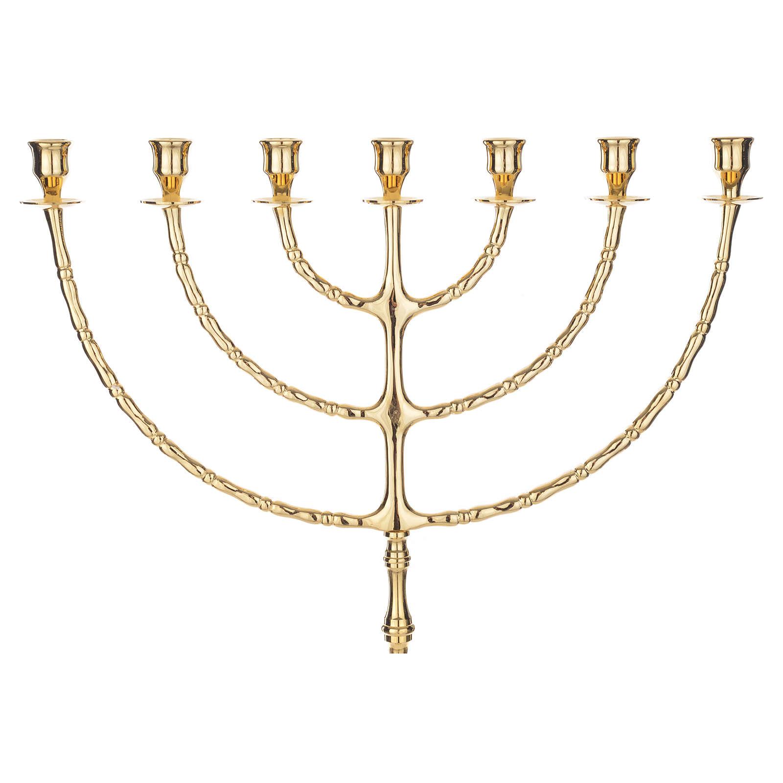 Menorah 7 branches en laiton doré 4