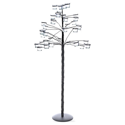 Tree tealight holder with transparent glasses 1