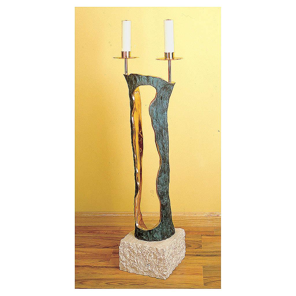 Chandelier deux lumières marbre bronze Molina 4